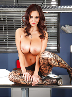 Gorgeous Milf Ava Addams Poses in Corset and Designed Stockings