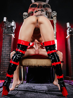 Dirty Devil Kissa Sins Sucking and Fucking in Long Latex Boots