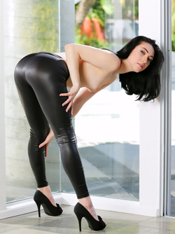 Sexy Aria Alexander in Faux Leather Pants and Black High Heels