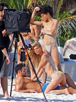 Danielle Knudson, Miki Hamano and Jamea Lyne Wearing Arm Bras