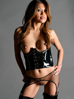 Asian Pornstar Charmane Star, Shiny Latex Corset and Long Boots