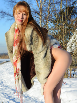 Cute Snow Bunny Alma Posing in Furcoat and Pink Boots Outdoors