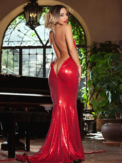 Magnificent Playboy Bunny Yesenia Bustillo Slips off her Red Dress