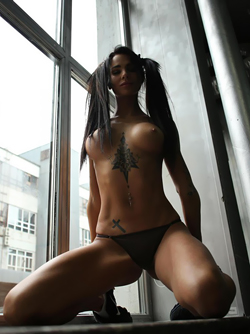 Super Hot Tattooed Bitch with Hard Titties Sunny by the Window